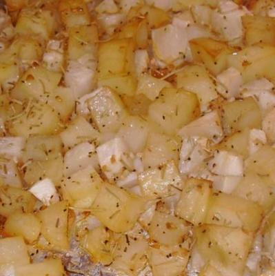 knapperige aardappelen uit het Midwesten en rapen