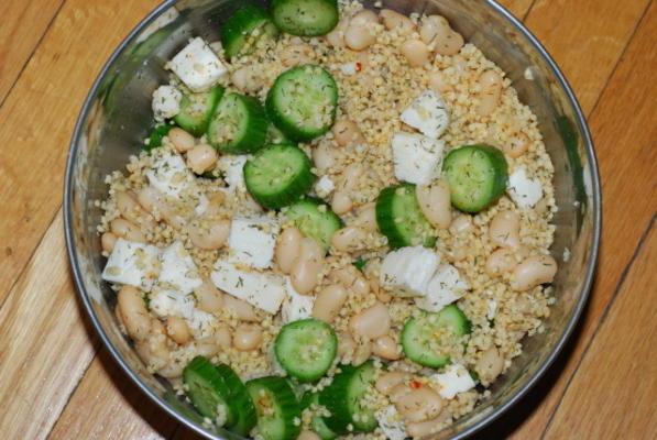 komkommer gierst boon salade met feta
