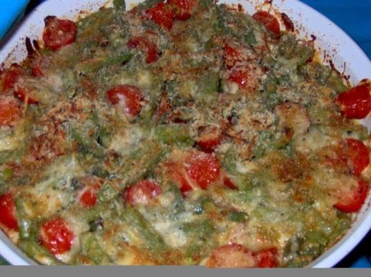 groene bonengratinate met kersentomaten, mozarella en basilicum