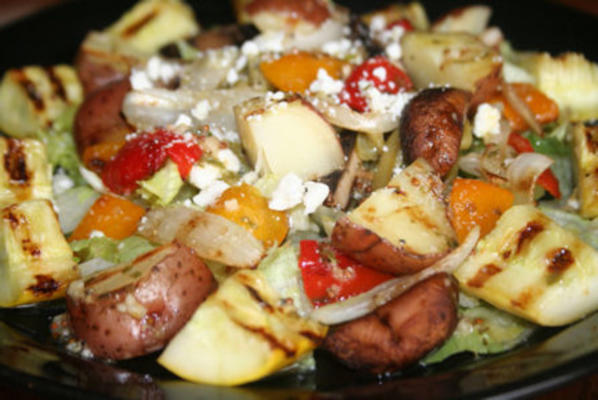 gegrilde groentesalade met dragon vinaigrette