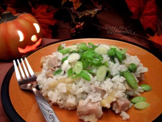 rijst en varkensvlees braadpan