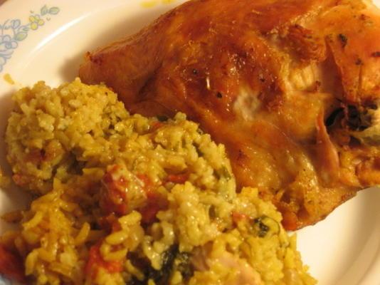 exotische kip en rijst braadpan