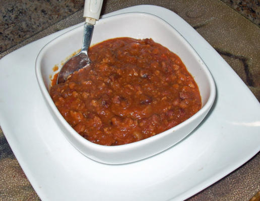 chef joey's anasazi bean chili (snelkookpan)